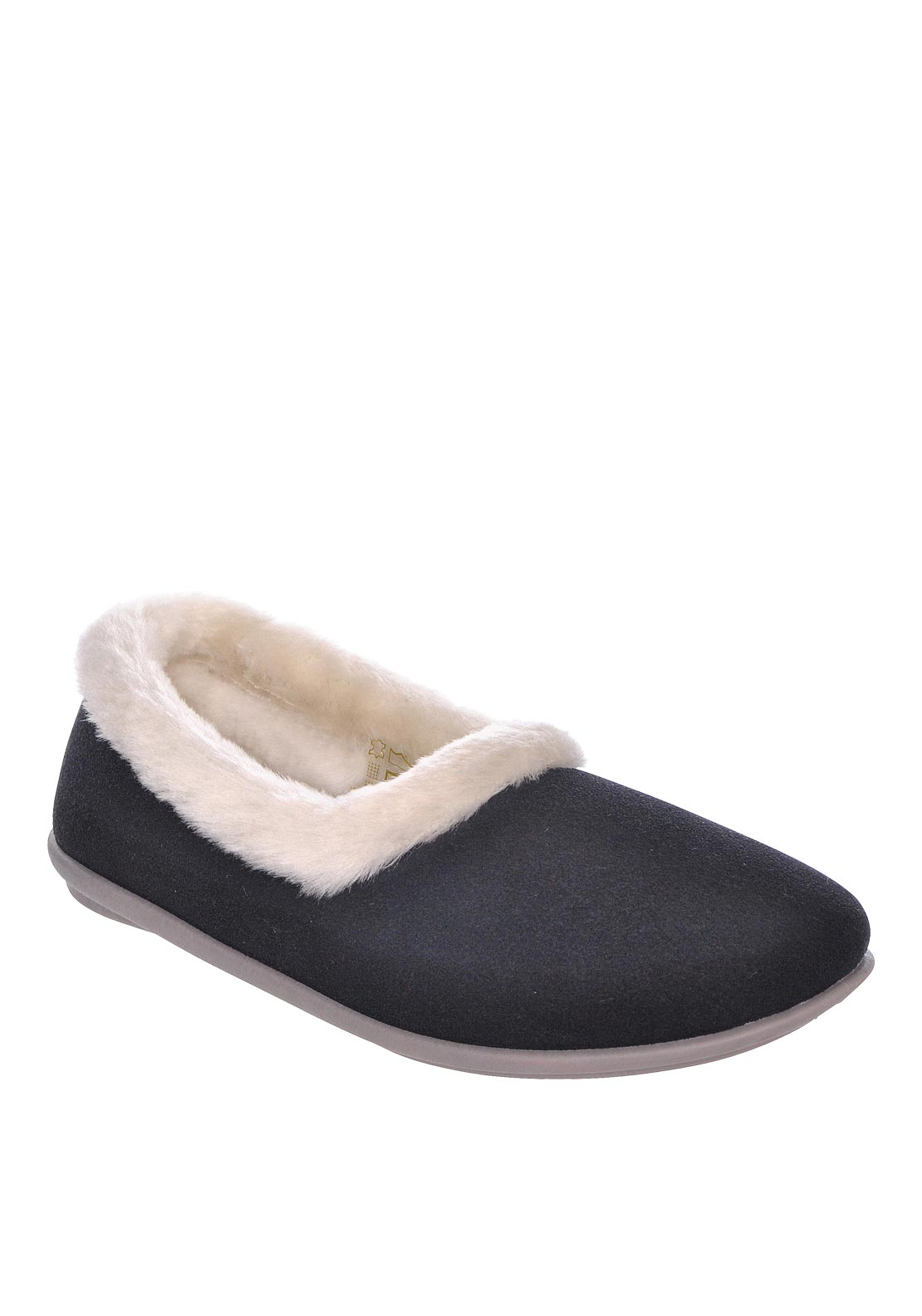 Lotus Womens Blair Faux Fur Slippers, Navy
