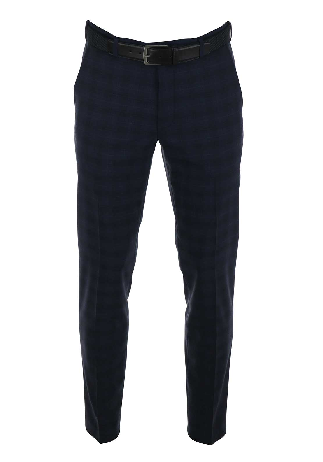 Meyer Mens Bonn Italian Fit Checked Trousers, Navy