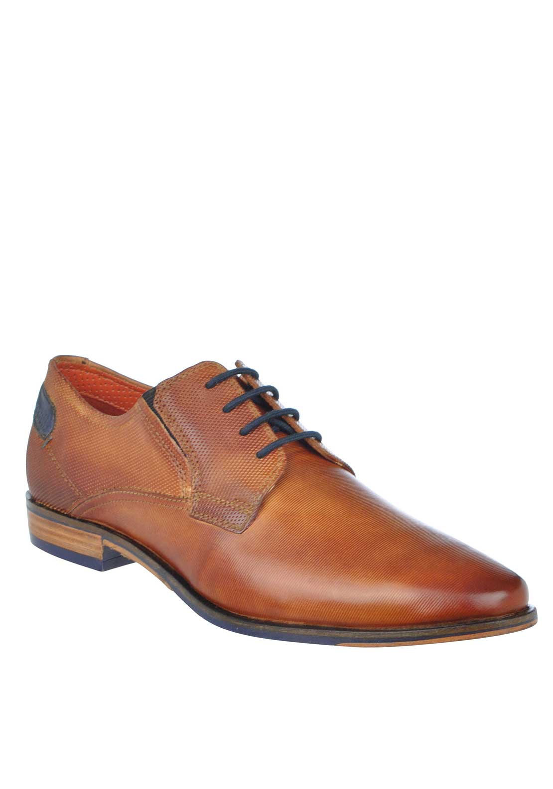 Bugatti Textured Lace Up Leather Shoes, Tan