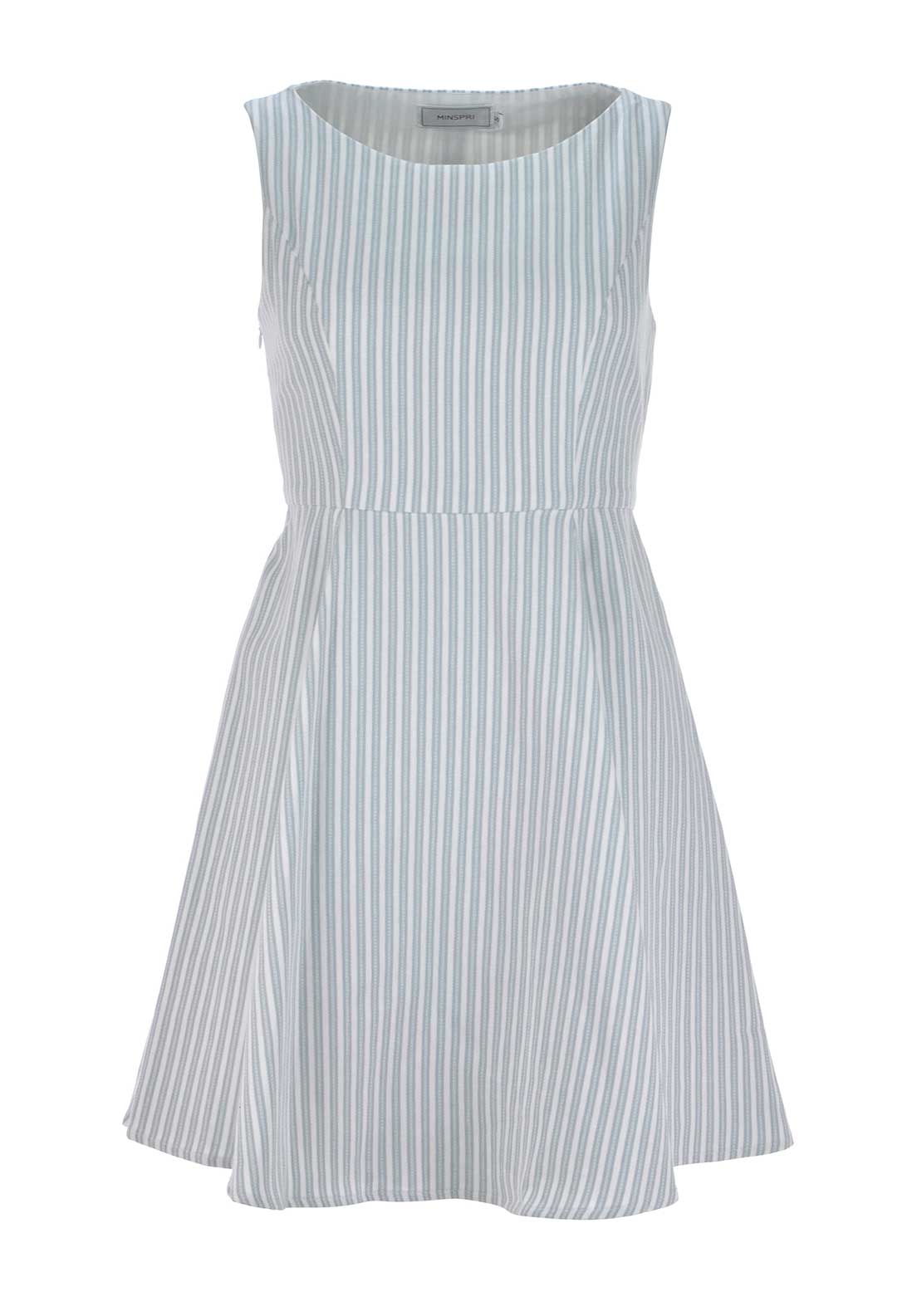 Boutique Sleeveless Striped Twill Cotton Skater Dress, White