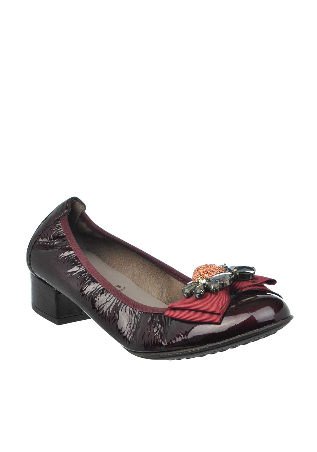 Wonders Patent Leather Diamante Embellished Pumps, Wine