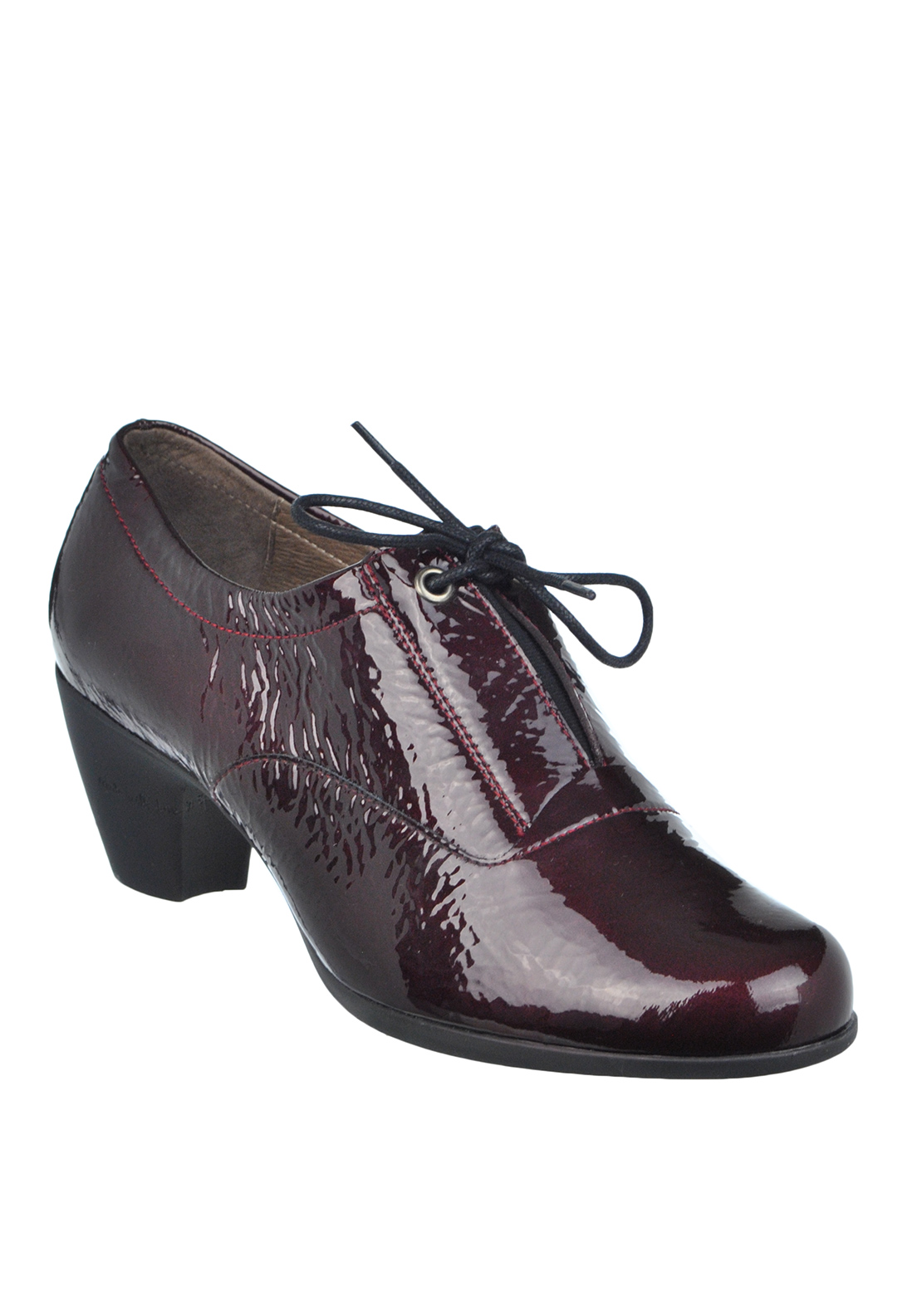 Wonders Patent Slip on Heeled Leather Shoe, Wine