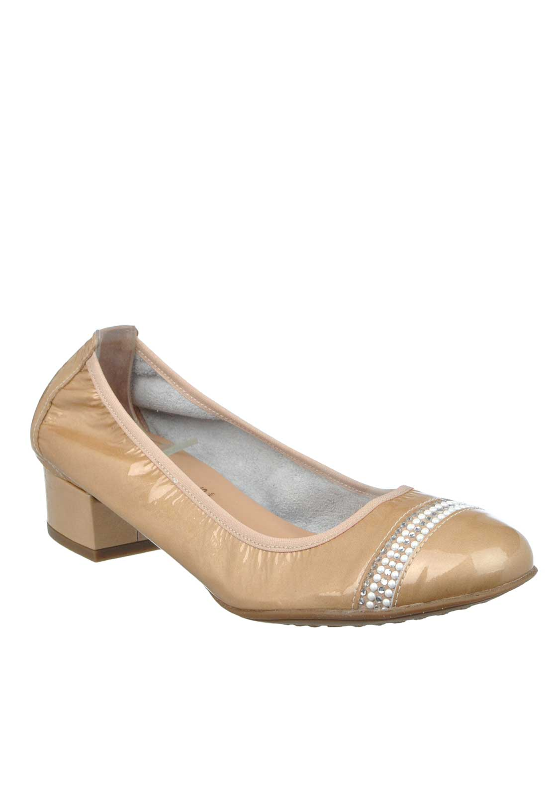 Wonders Patent Leather Embellished Heeled Pumps, Caramel