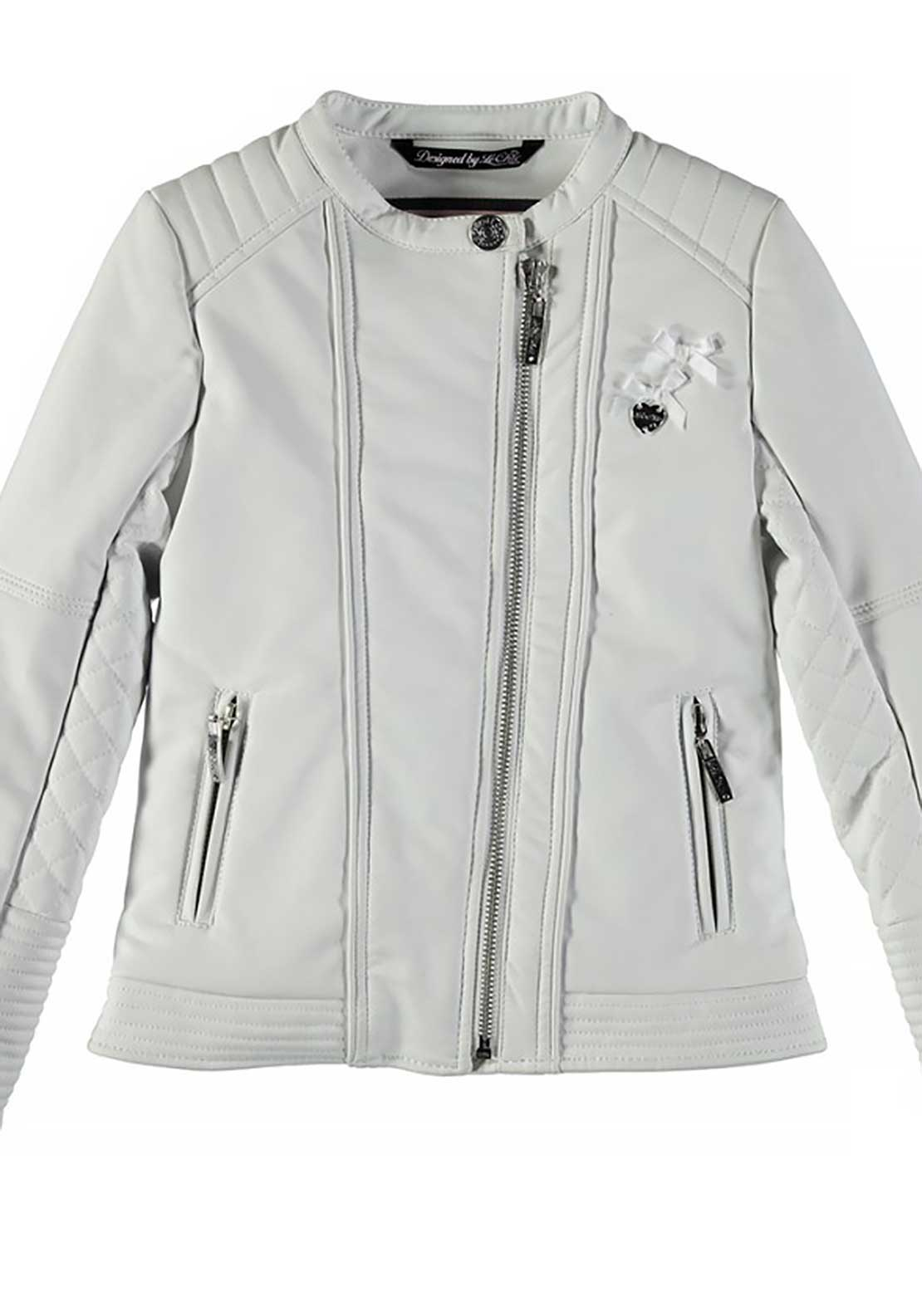Le Chic Girls Faux Leather Biker Jacket, White