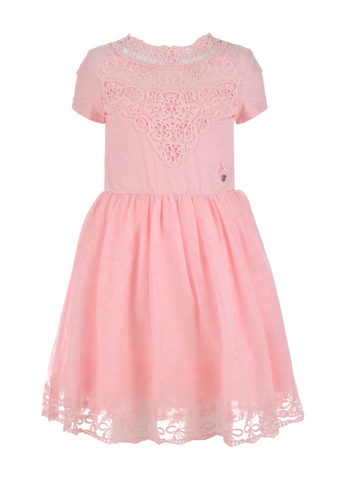 Le Chic Girls Crochet Tulle Dress, Marshmallow Pink