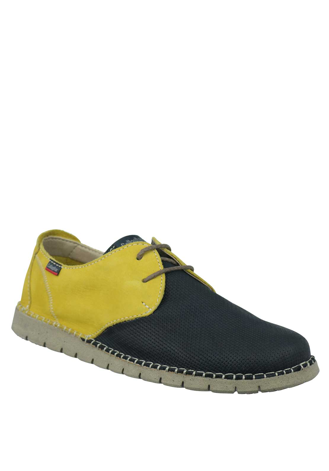Callaghan Extra Light Colour Block Nubuck Leather Lace Up Shoe, Yellow and Navy