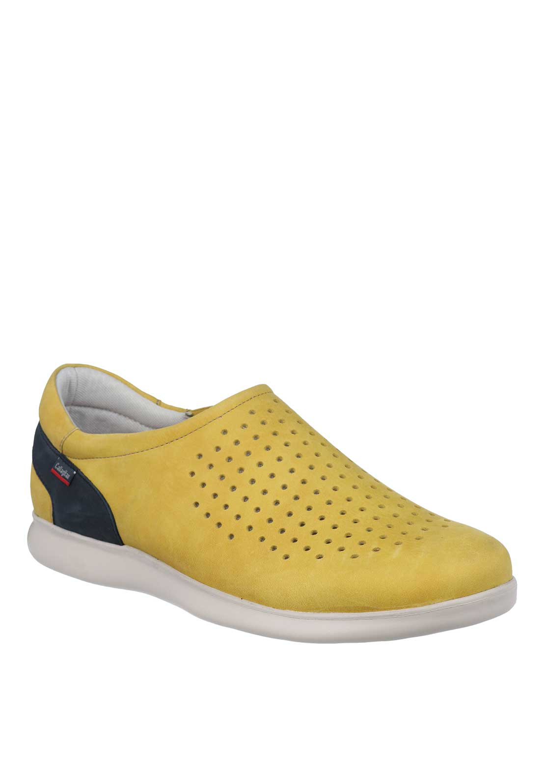 Callaghan Perforated Suede Slip On Comfort Shoes, Yellow