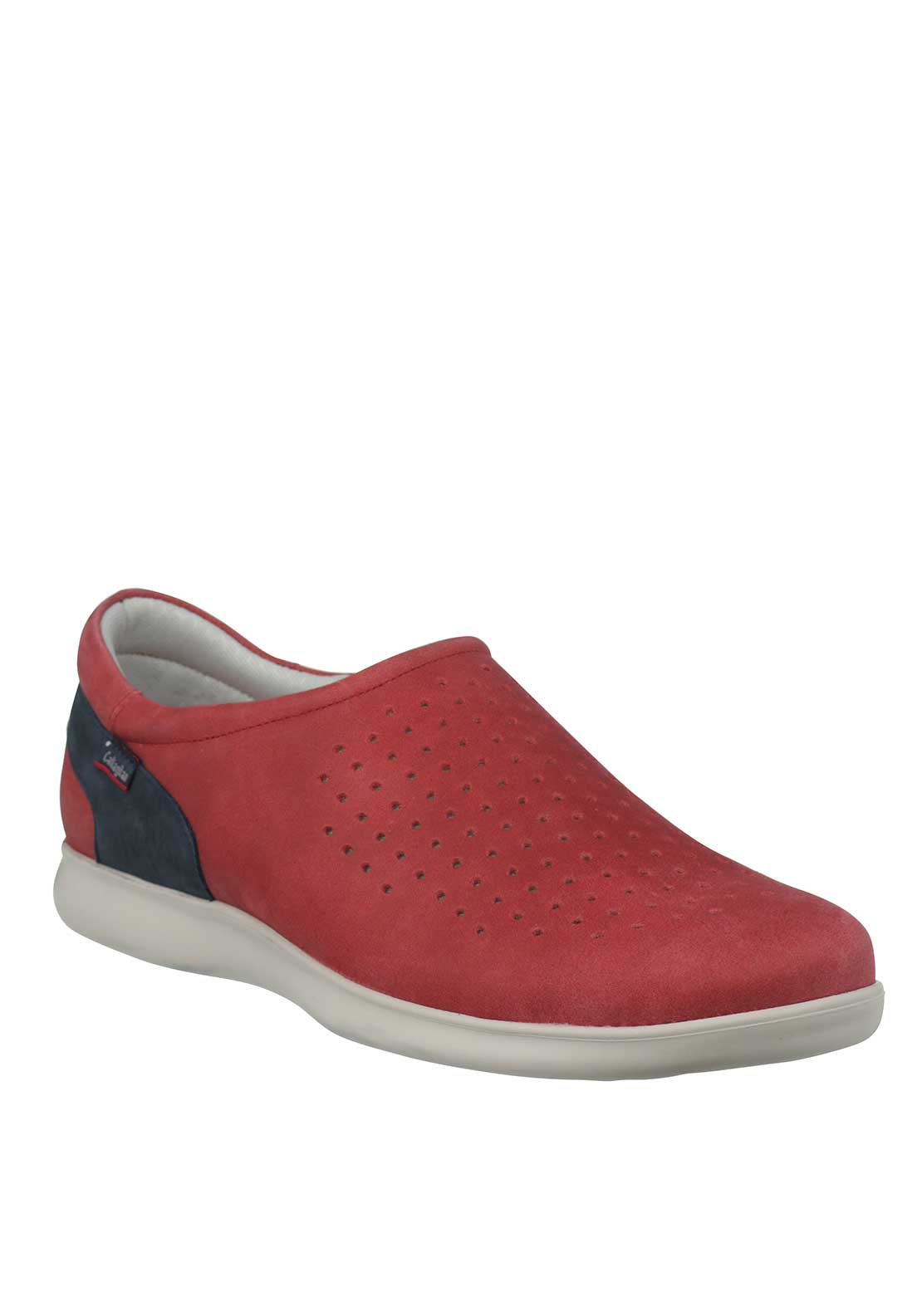 Callaghan Perforated Suede Slip On Comfort Shoe, Red