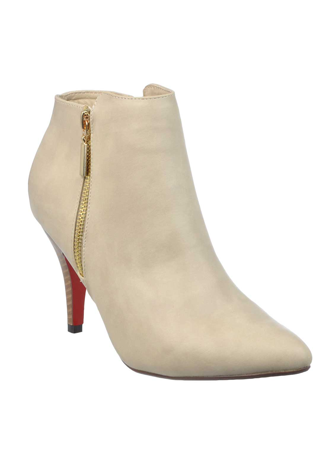 Kate Appleby Castle Hope Faux Leather Pointed Toe Heeled Ankle Boots, Cream