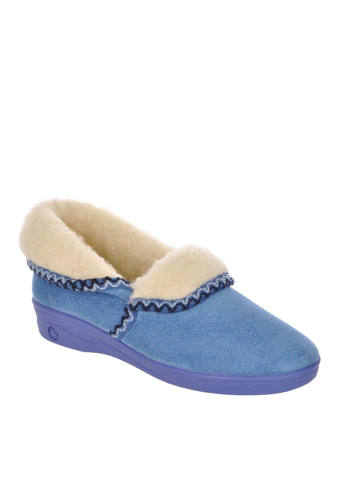 Lotus Womens Celia Sheep Skin Slippers, Blue