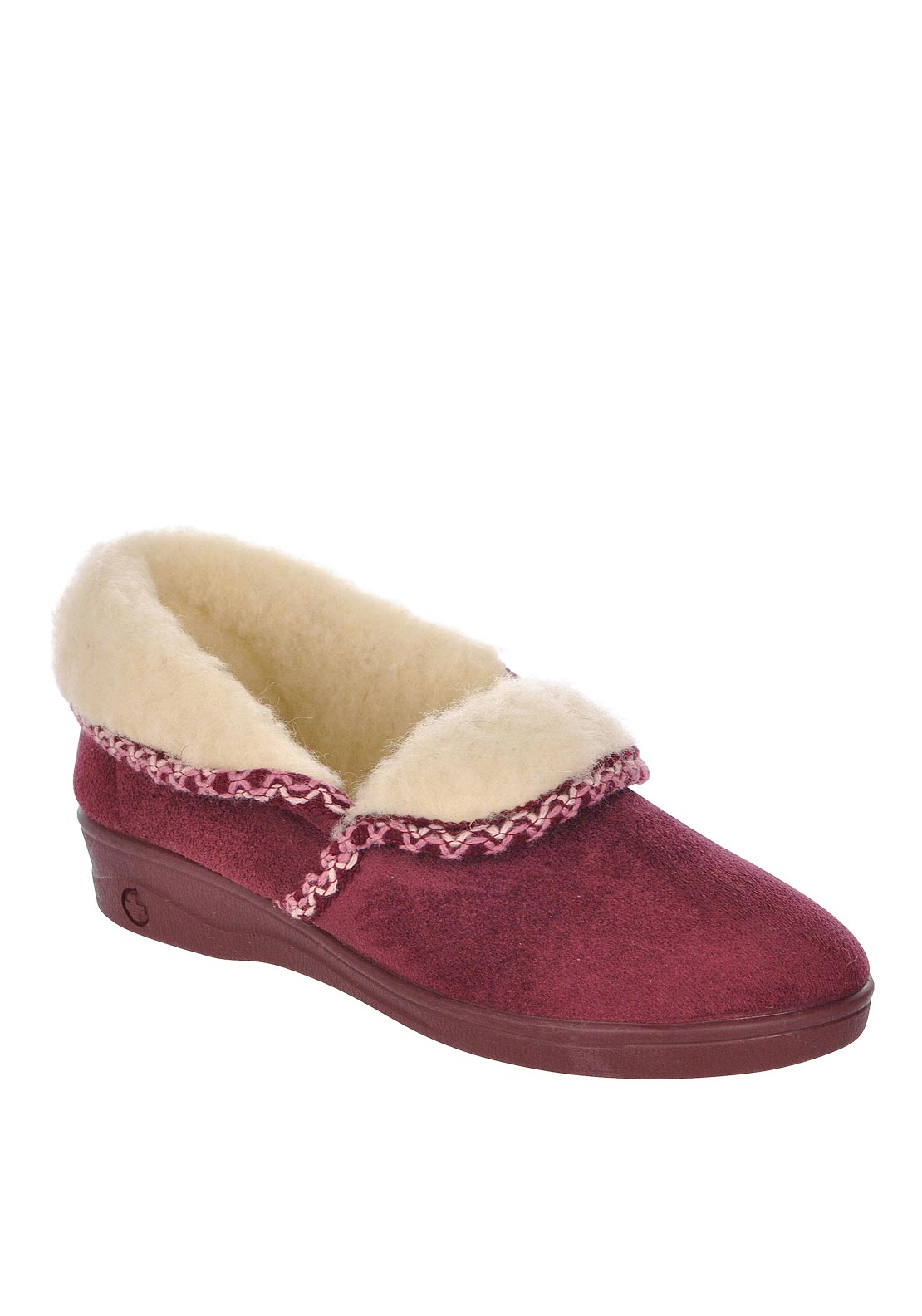 Lotus Womens Celia Sheep Skin Slippers, Wine