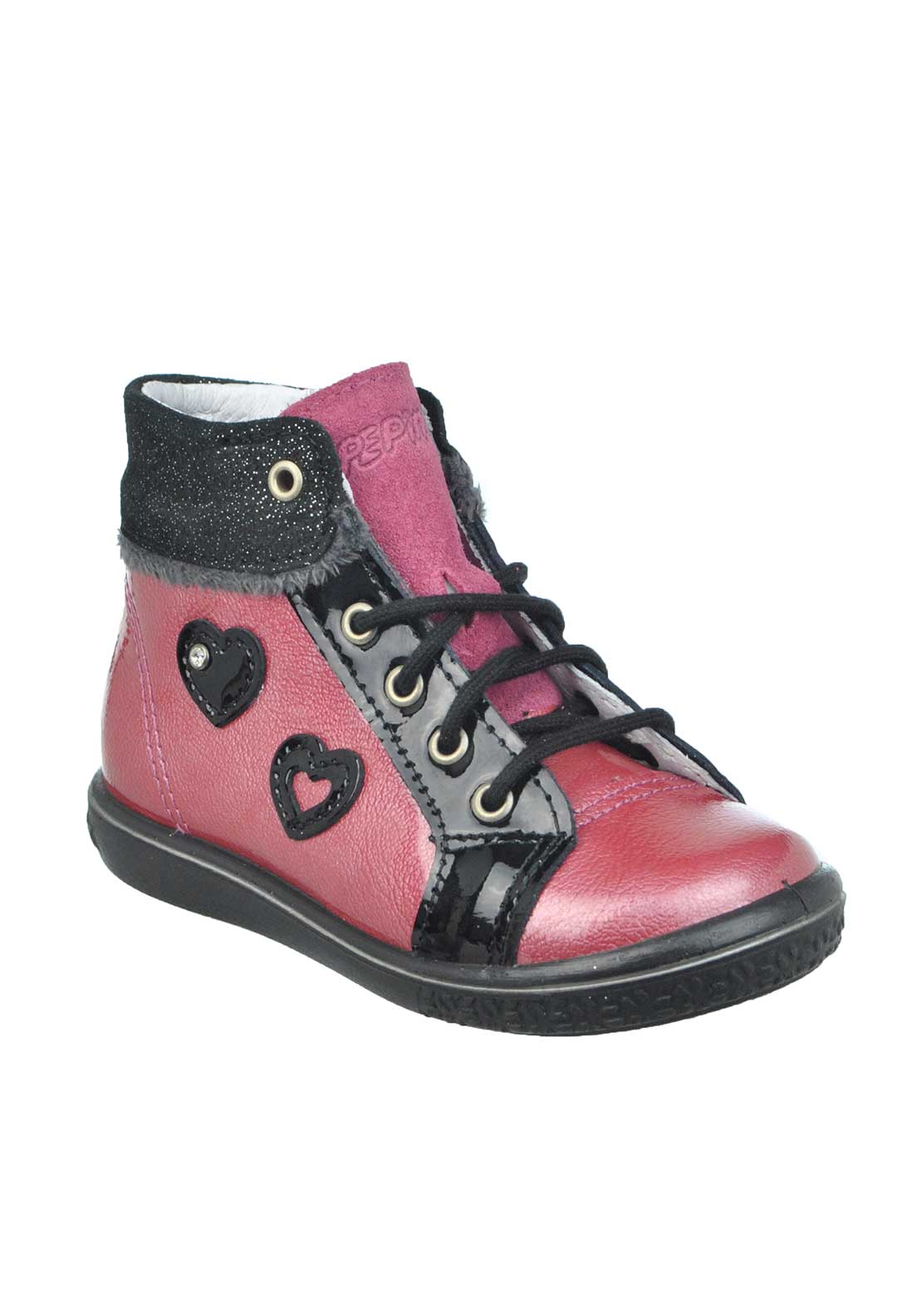 Pepino Baby Girls Chilbie Patent Heart Print Leather Boots, Pink