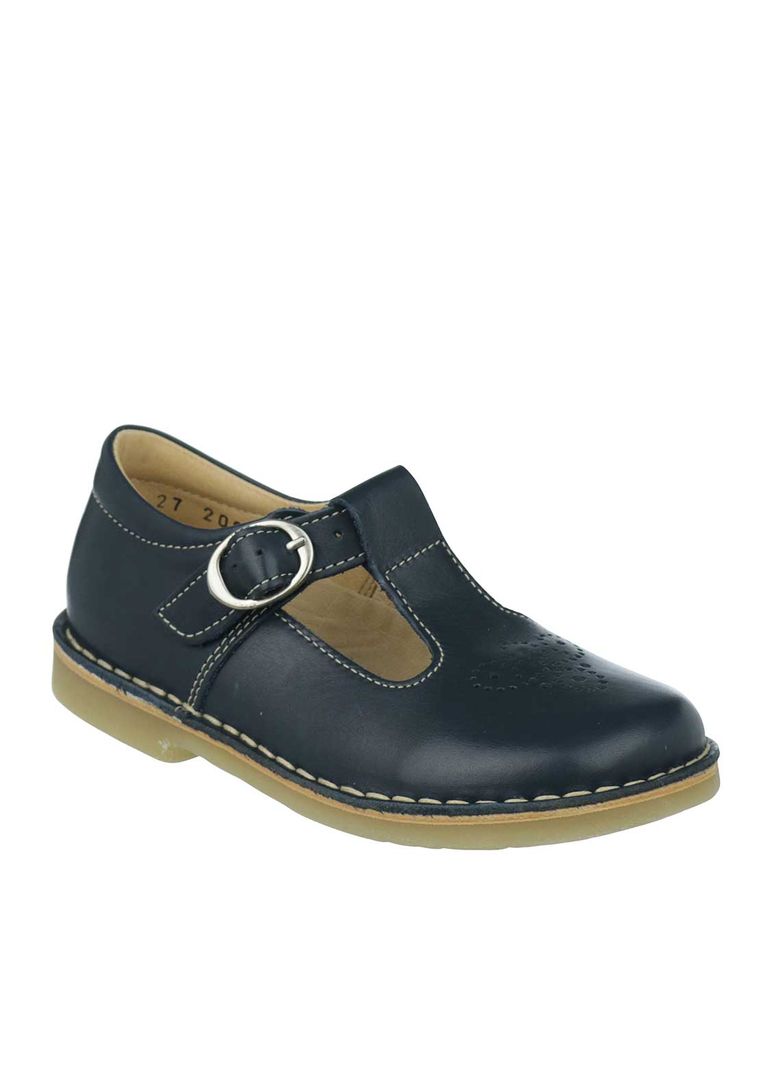 Petasil Cristina Leather Perforated Buckled Strap Shoes, Navy
