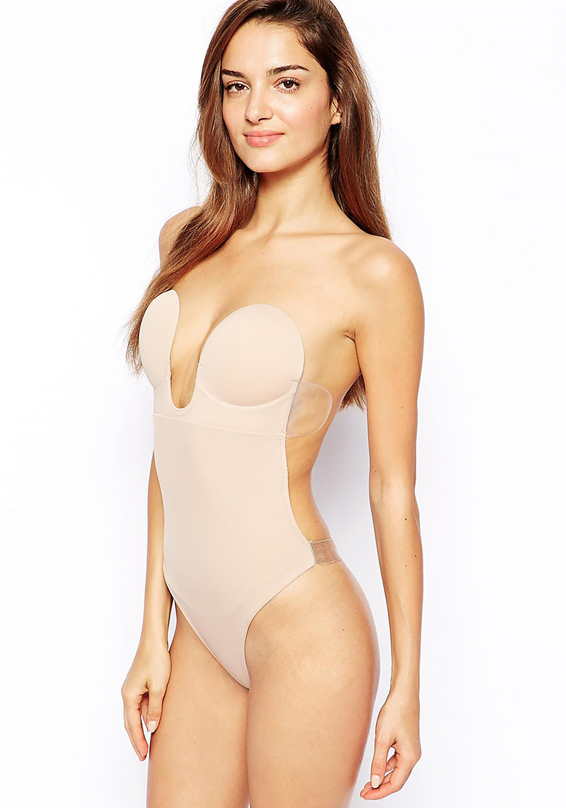 Fashion Forms U Plunge Backless Strapless Bodysuit, Nude