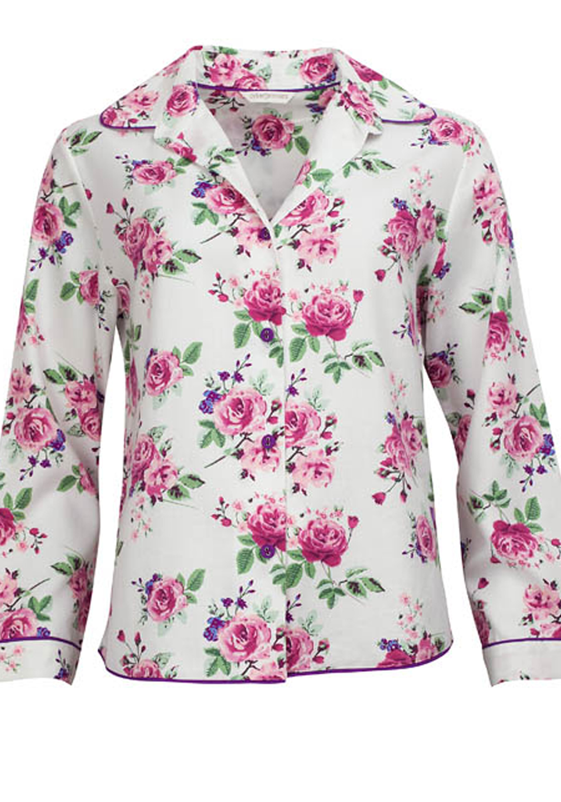 Cyberjammies Rose Floral Print Pyjama Top, Cream Multi