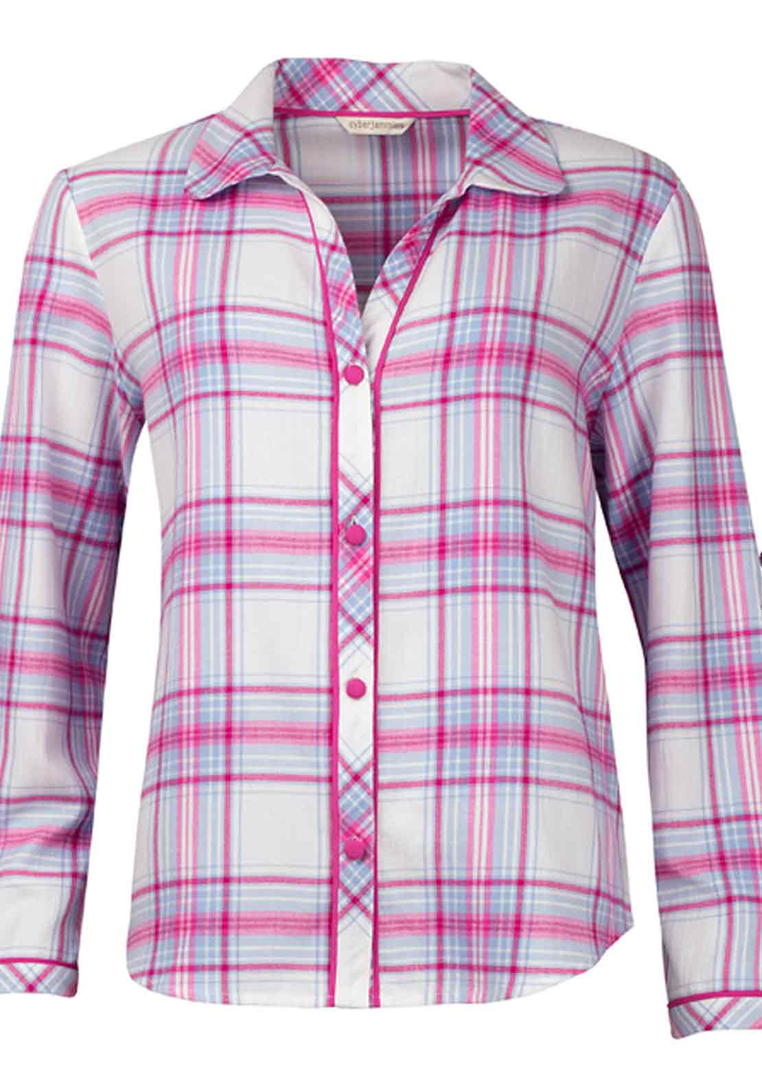Cyberjammies Floral Fun Checked Brushed Cotton Pyjama Top, Pink and Blue
