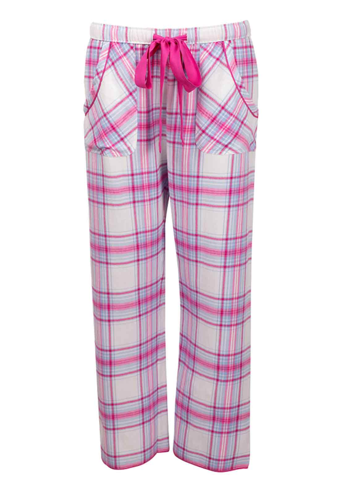 Cyberjammies Floral Fun Checked Brushed Cotton Pyjama Bottoms, Pink and Blue