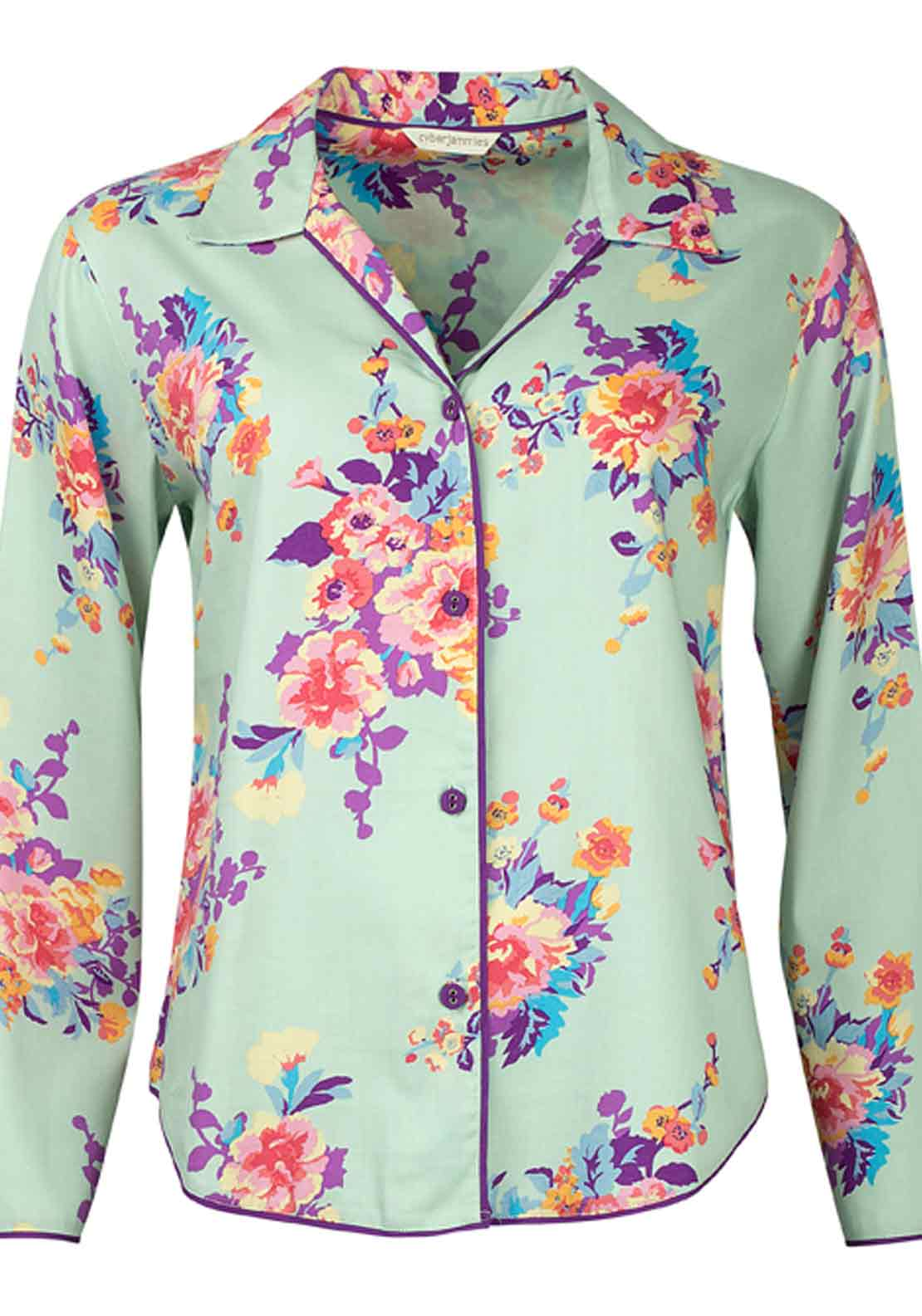 Cyberjammies Waterlily at Dusk Floral Print Pyjama Top, Aqua Floral