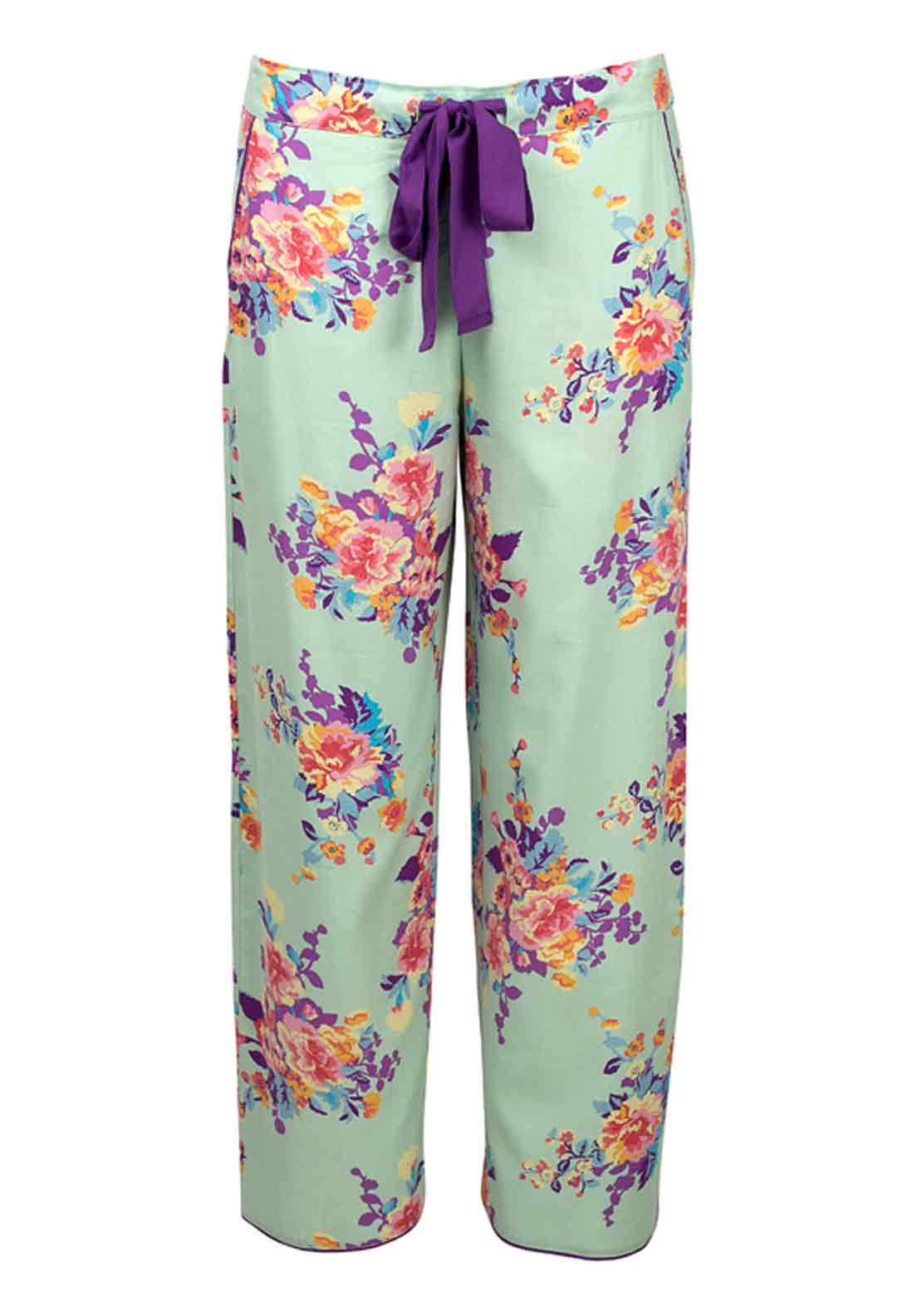 Cyberjammies Waterlily at Dusk Floral Print Pyjama Bottoms, Aqua Floral