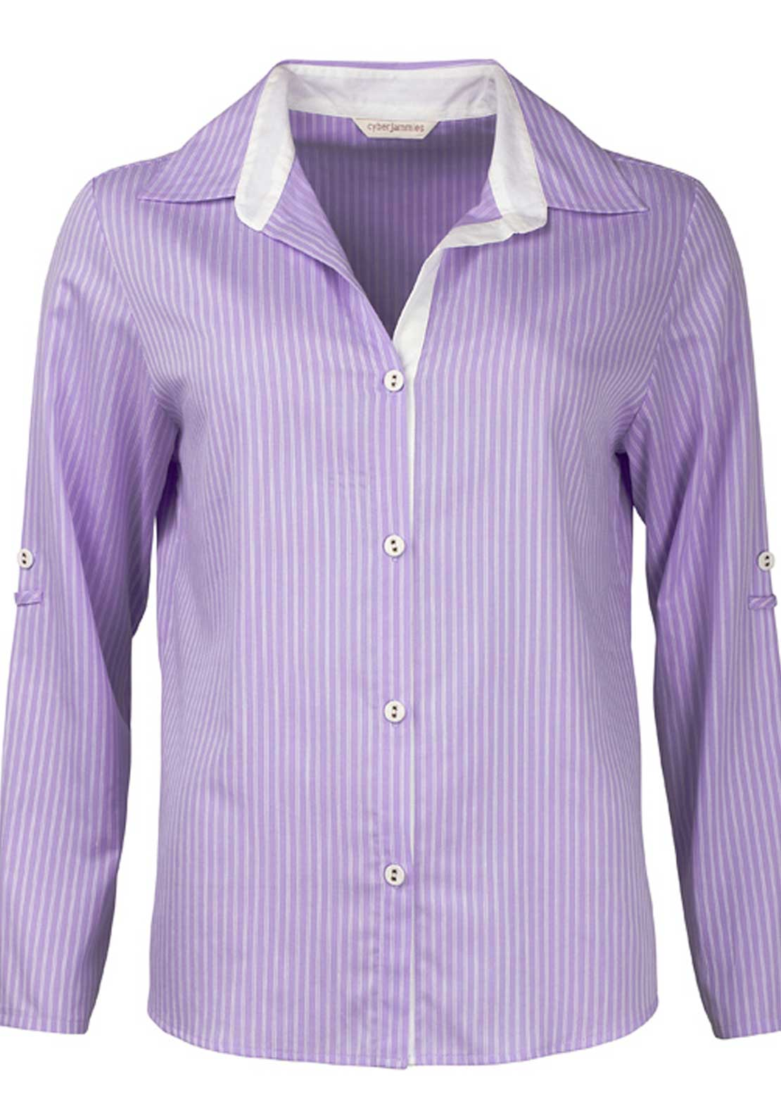 Cyberjammies Patchwork Aviary Striped Pyjama Top, Lilac