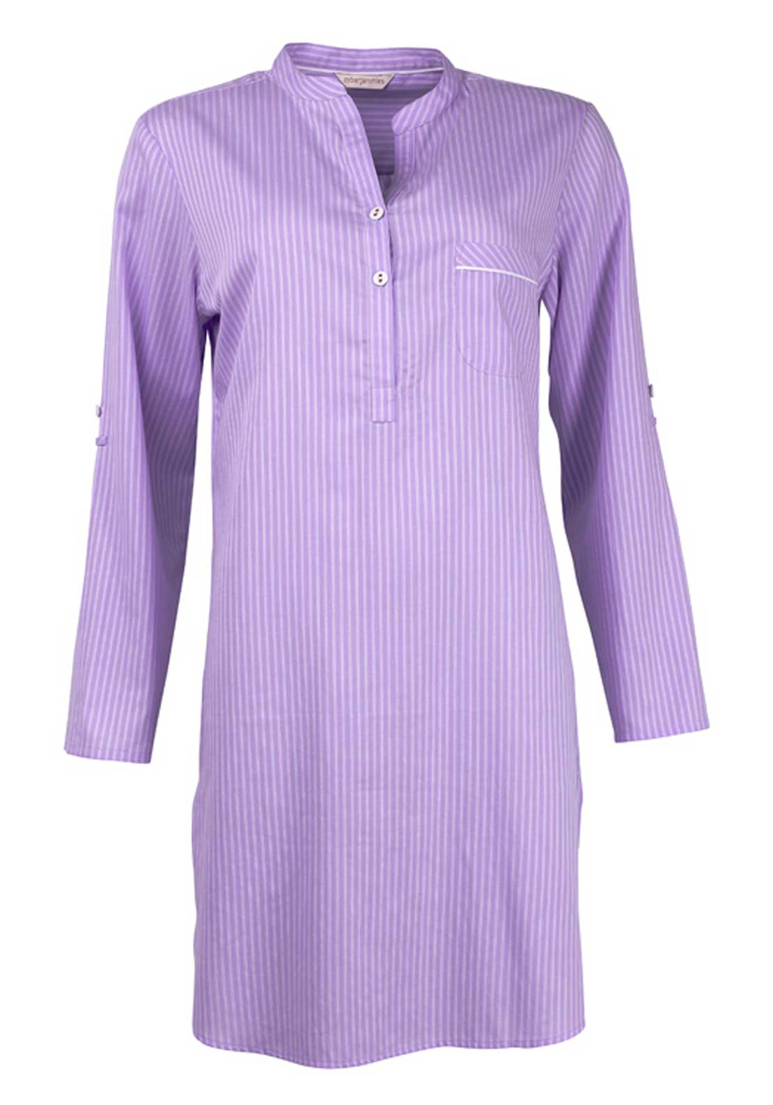 Cyberjammies Patchwork Aviary Striped Night Shirt, Lilac
