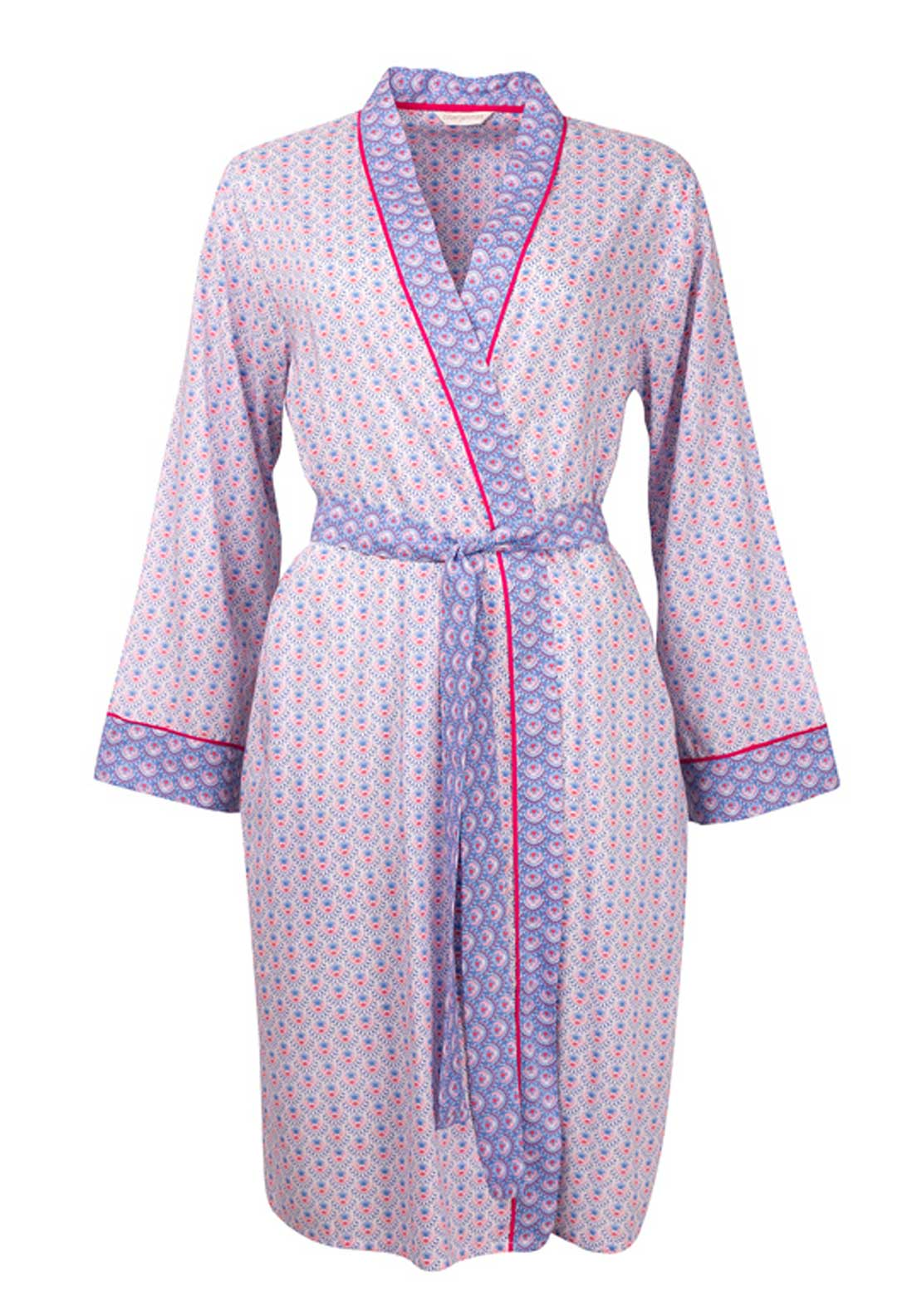 Cyberjammies Loved Up Folk Wrap Over Dressing Gown, White Multi