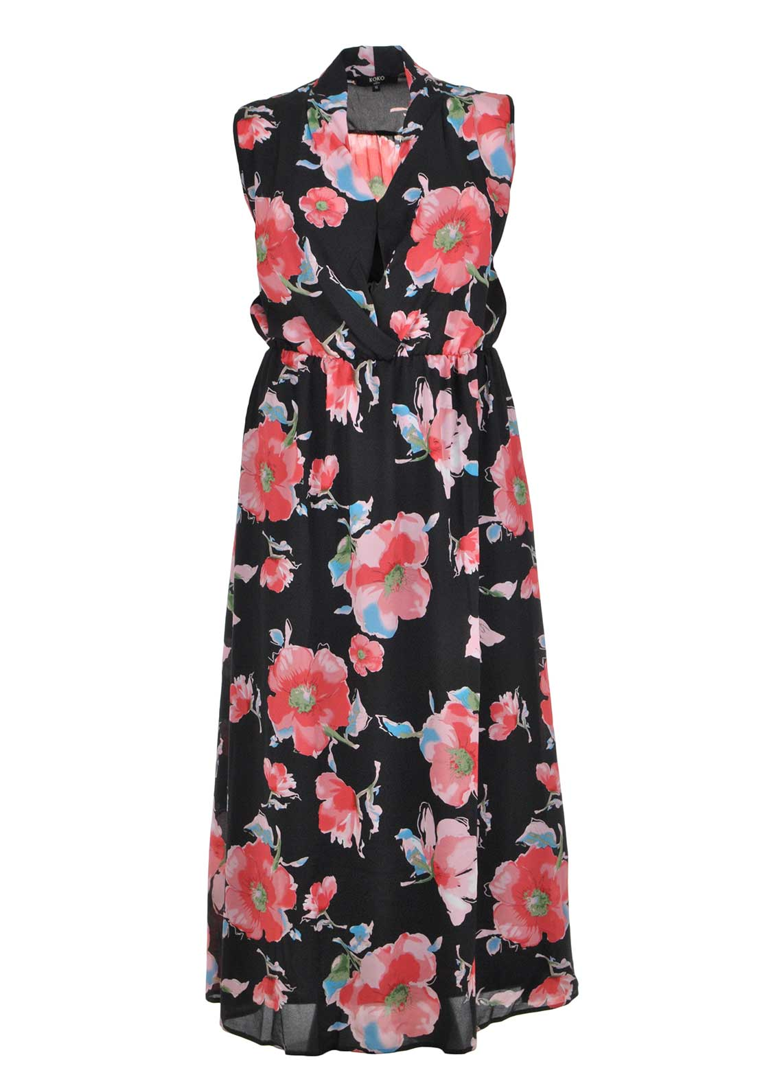 Lovedrobe Floral Print Maxi Dress, Black and Red