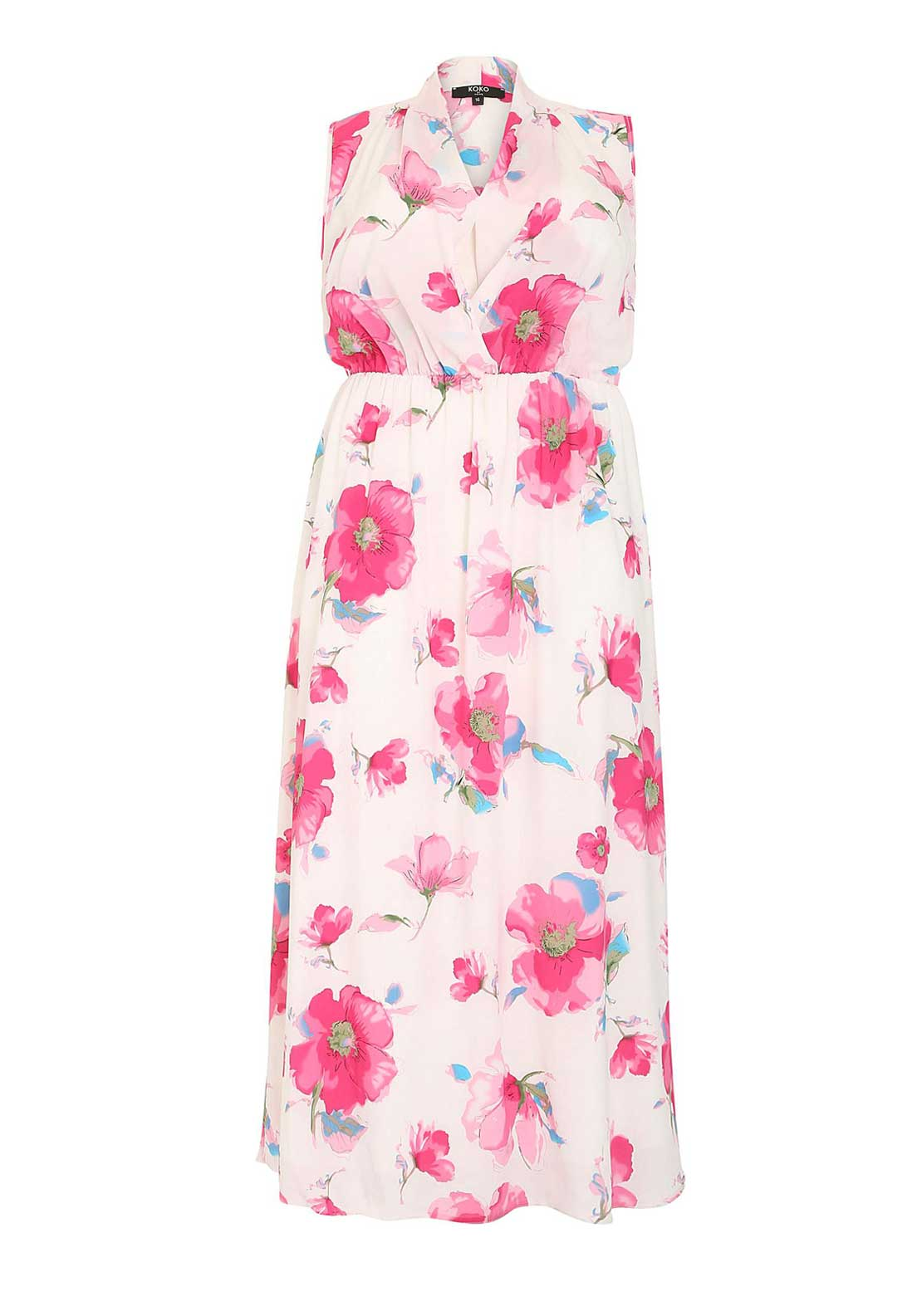 Lovedrobe Floral Print Maxi Dress, White and Pink