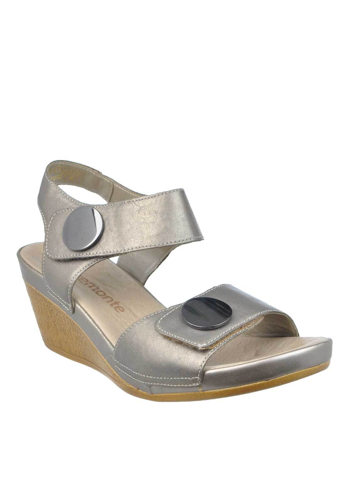 Remote Leather Metallic Wedged Sandals, Pewter