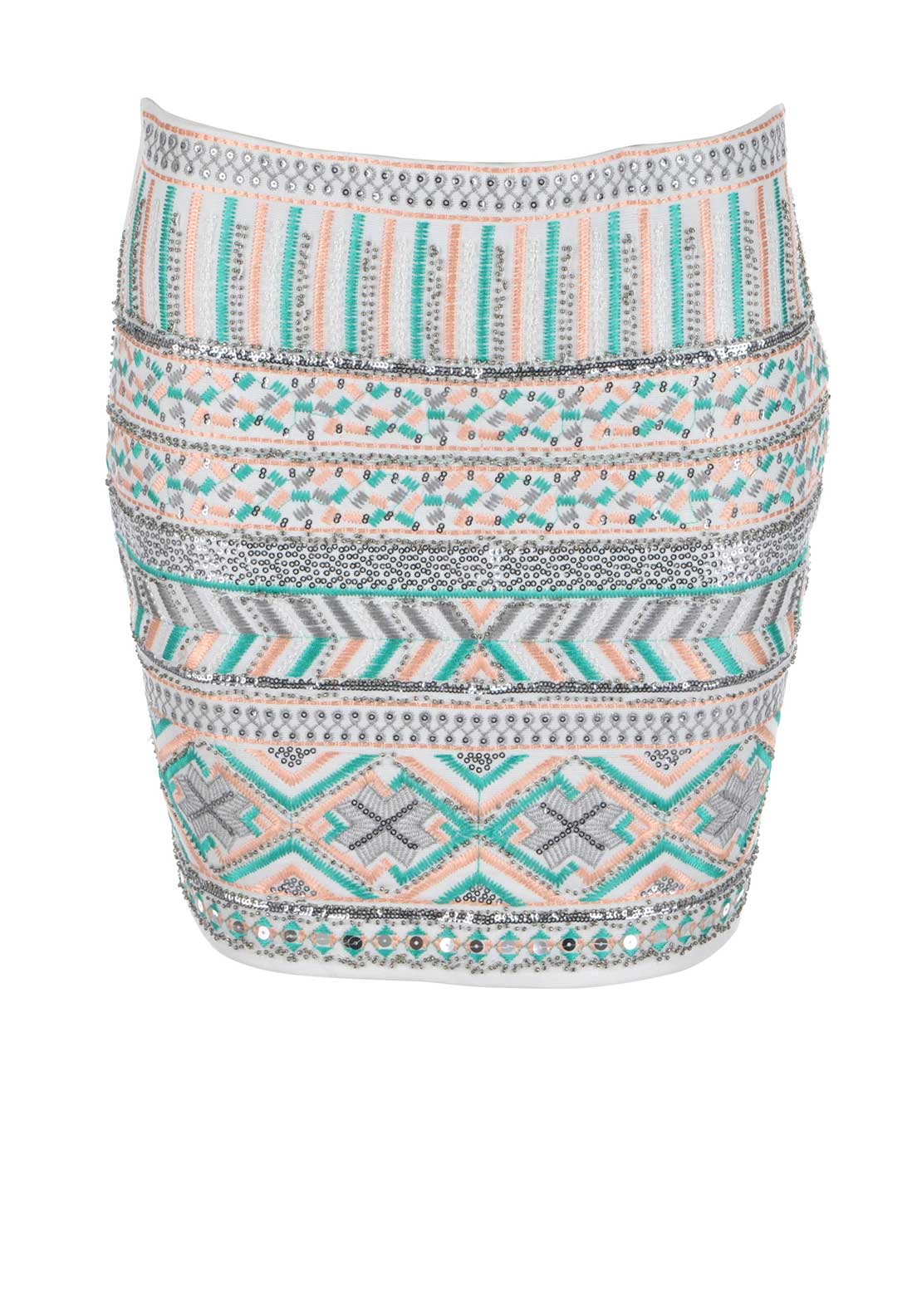 Boutique Embroidered Sequin Embellished Aztec Print Mini Skirt, White