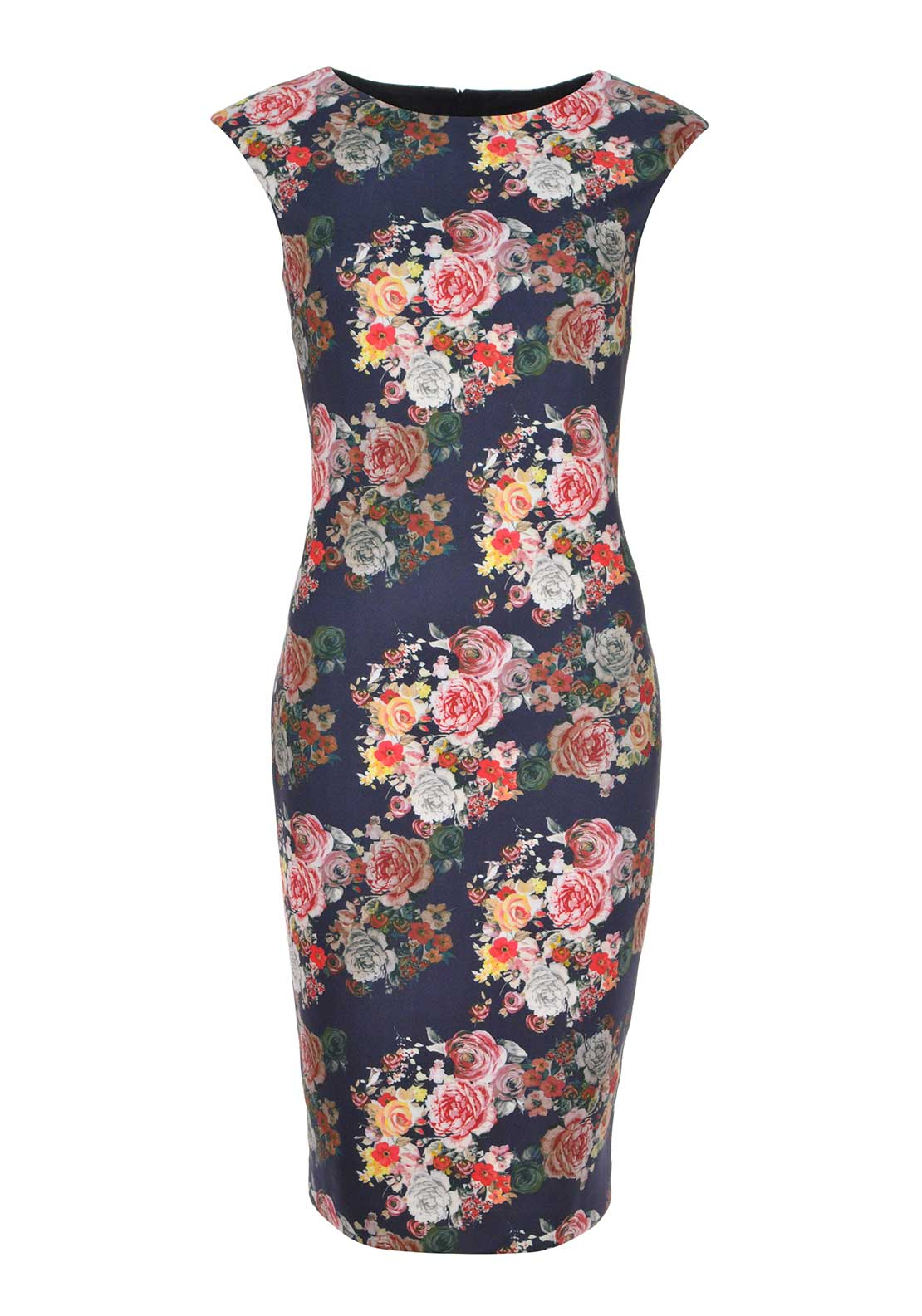 Dress by Aideen Bodkin Floral Print Sleeveless Pencil Dress, Navy Multi
