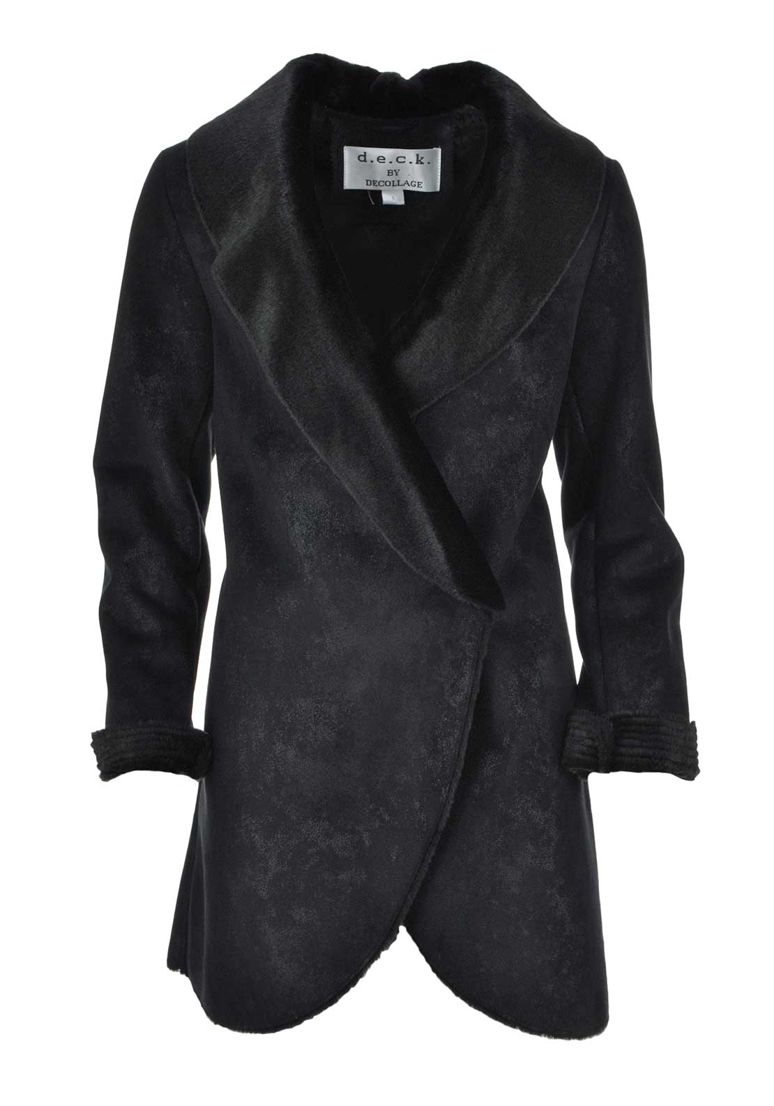 d.e.c.k. by Decollage Faux Fur Trim Suedette Coat, Black