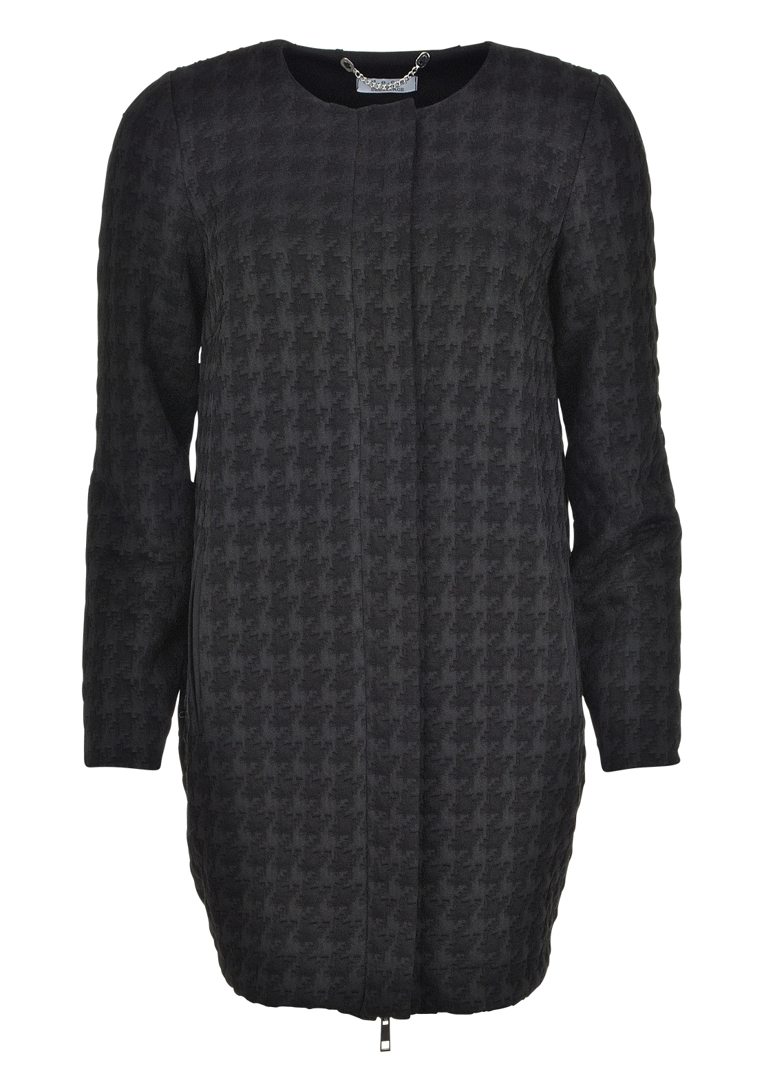 d.e.c.k. by Decollage Houndstooth Embossed Coat, Black