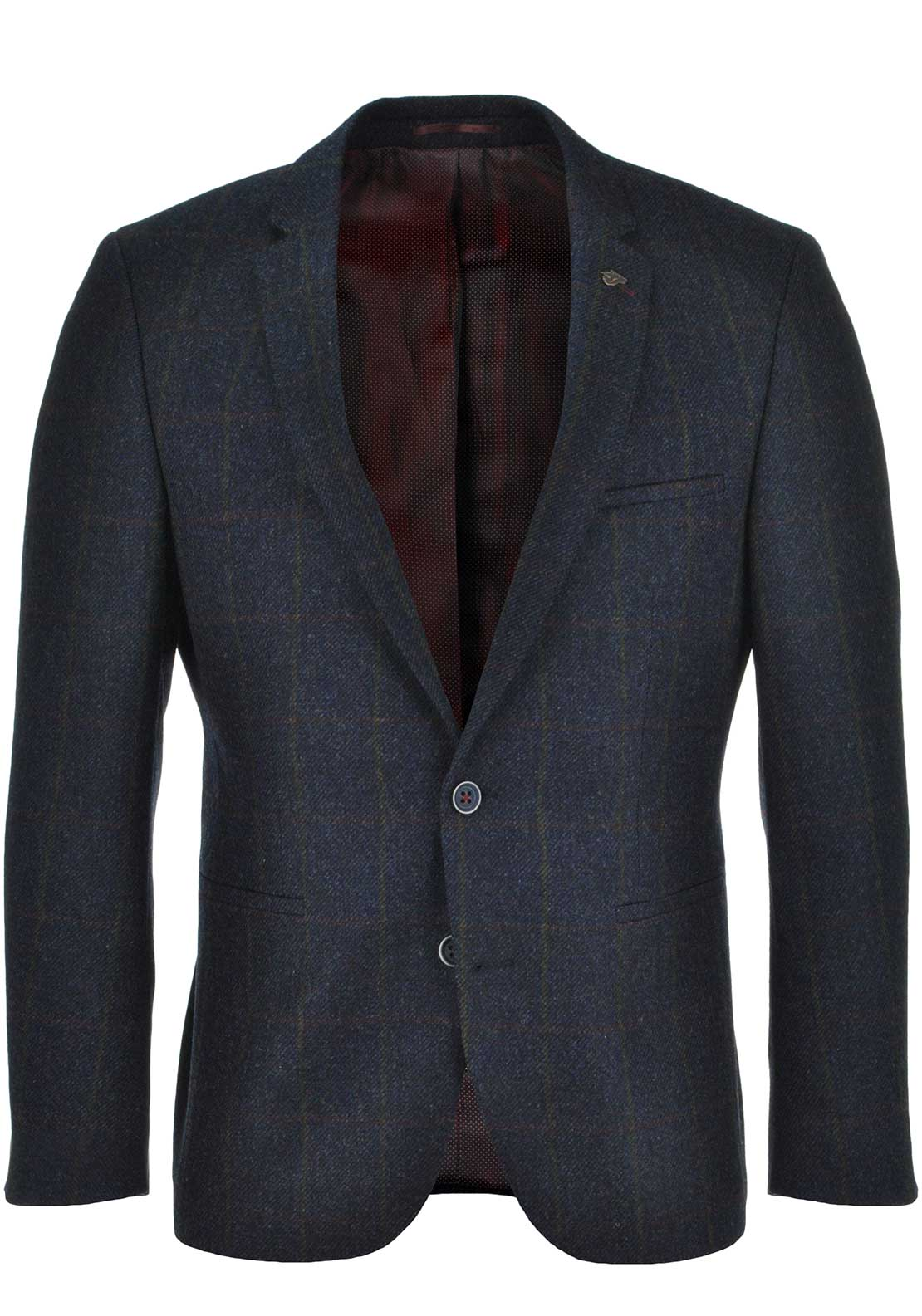 Remus Uomo Mens Wool Calzo Two Button Check Blazer, Navy