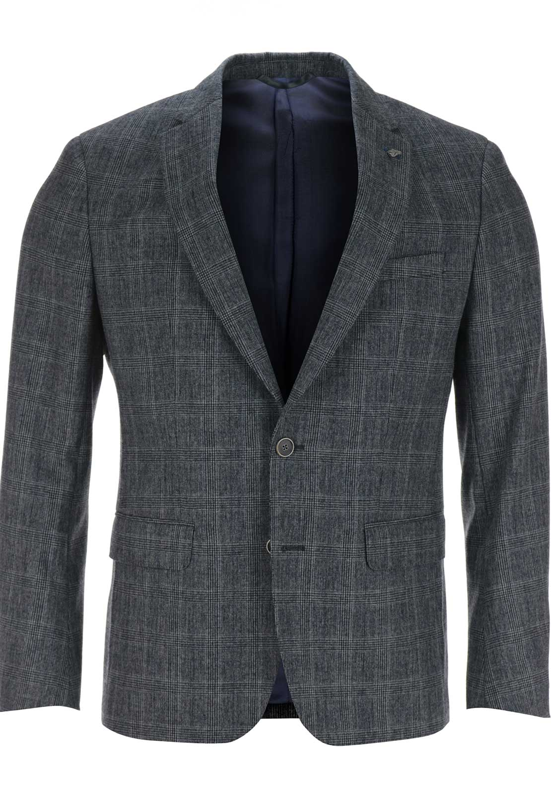 Remus Uomo Mens Trelano Two Button Checked Blazer, Grey