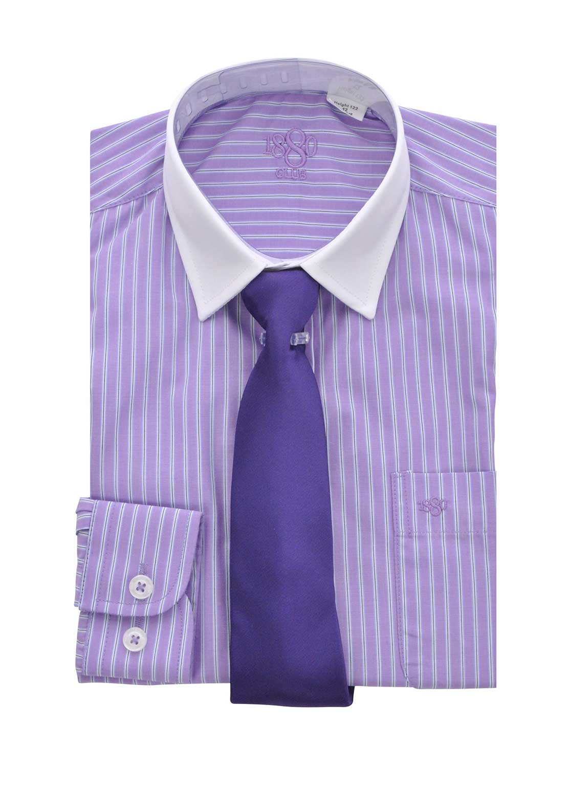 1880 Club Boys Long Sleeve Striped Shirt and Tie, Purple
