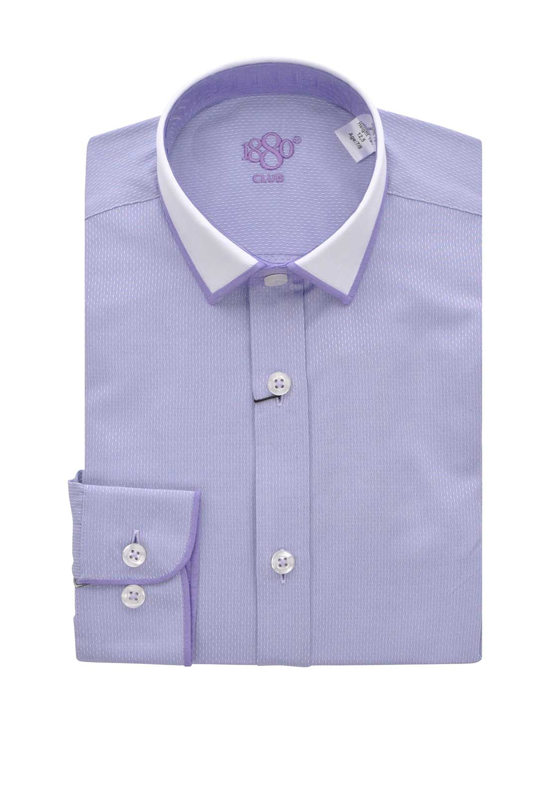 1880 Club Boys Long Sleeve Embossed Shirt, Purple