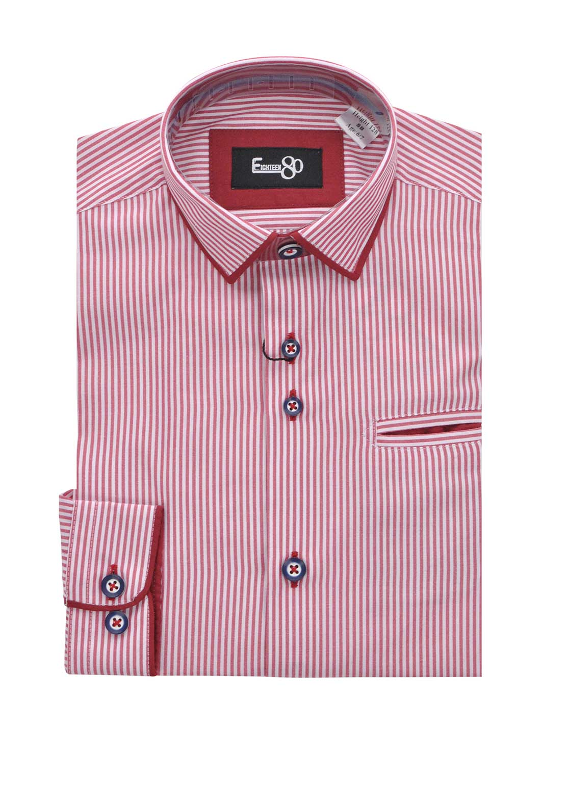 1880 Club Boys Long Sleeve Striped Shirt, Red