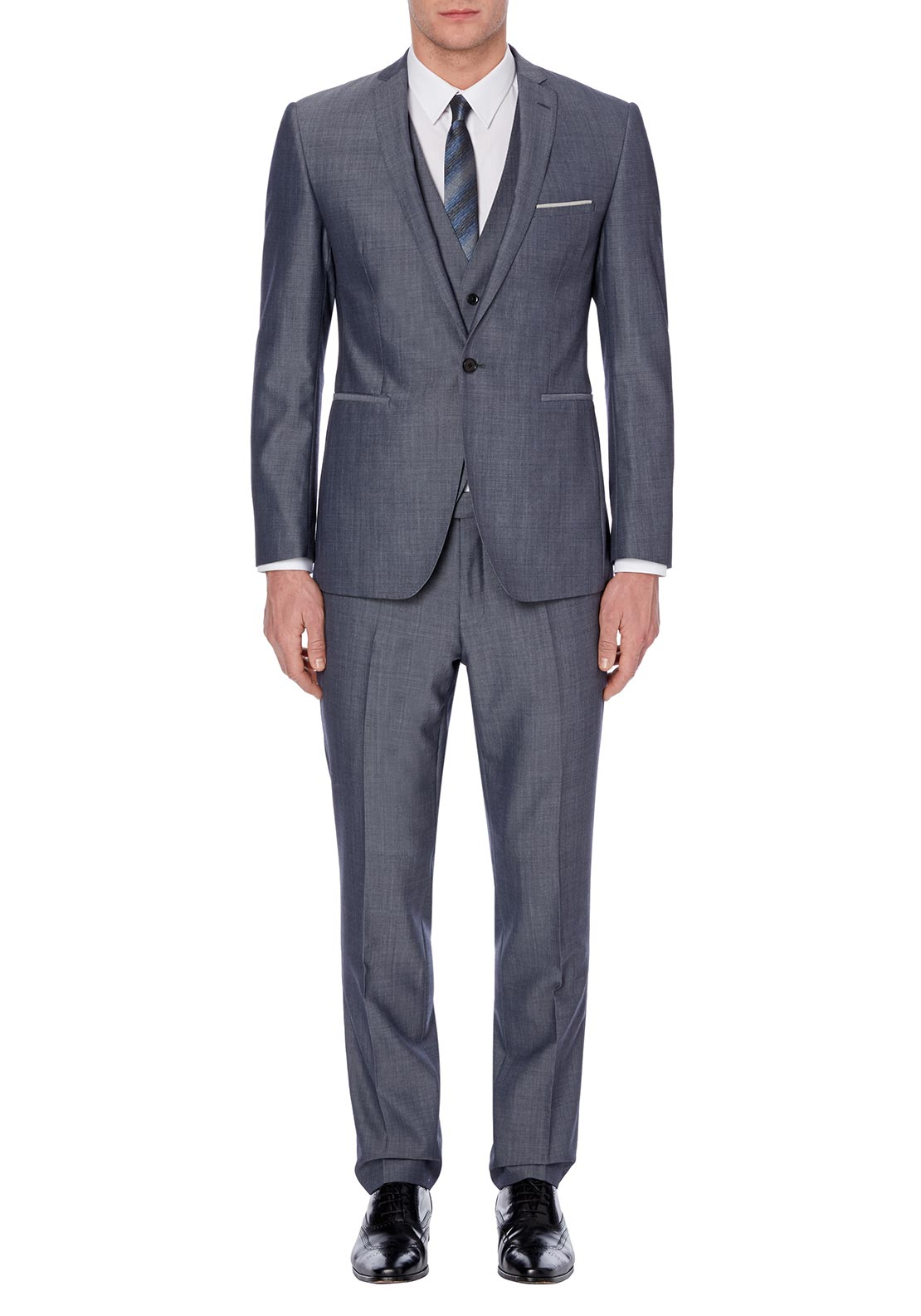 Remus Uomo Mens 2 Button 3 Piece Suit, Light Grey