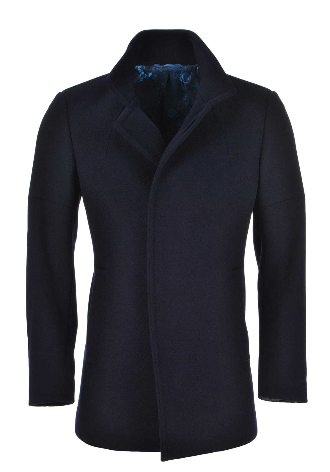 Remus Uomo Mens Lohman Tapered Fit Wool Rich Overcoat, Navy
