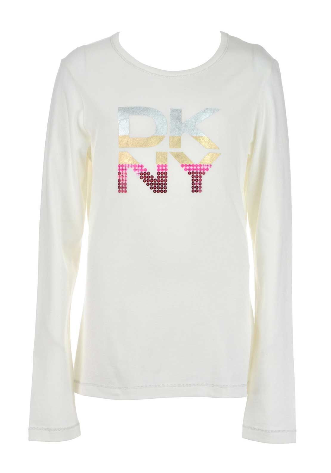 DKNY Girls Long Sleeve Girls Print Jersey Top, Cream