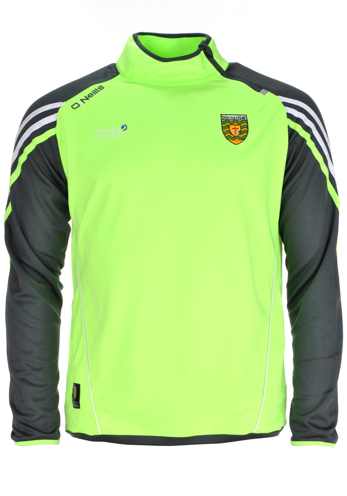 O'Neills Donegal GAA Mens Darwin Side Zip Squad Top, Lime Green