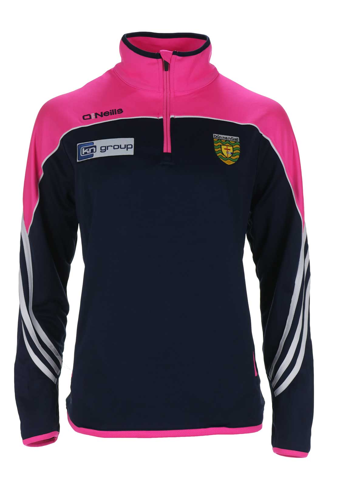 O'Neills Donegal GAA Womens Parnell Long Sleeve Training Top, Navy and Pink