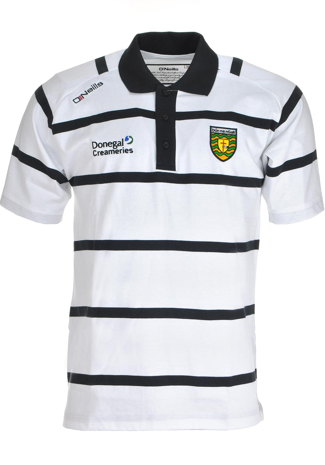 O'Neills Donegal GAA Adults Mourne Stripe Polo Shirt, White and Black