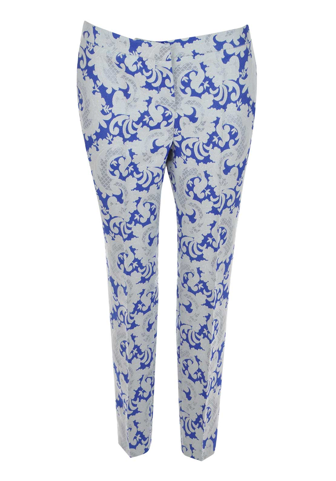 Ella Boo Paisley Print Slim Fit 7/8 Trousers, Blue and White
