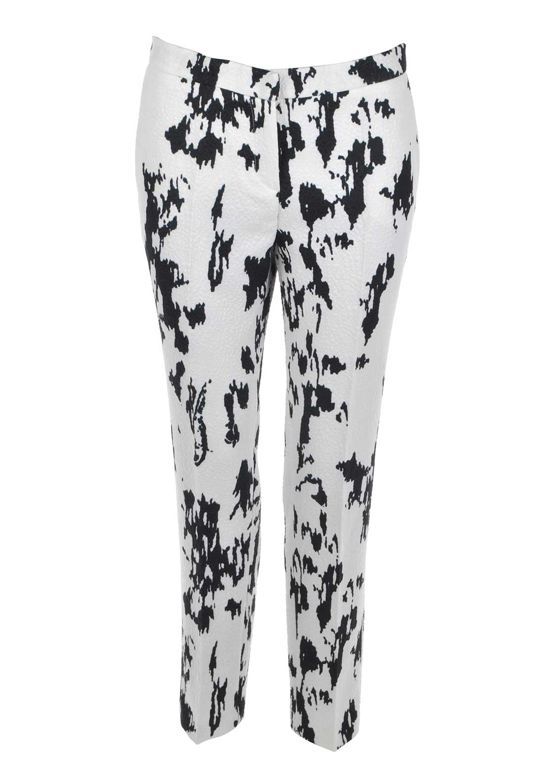 Ella Boo Abstract Animal Print Jacquard Tapered Trousers, White