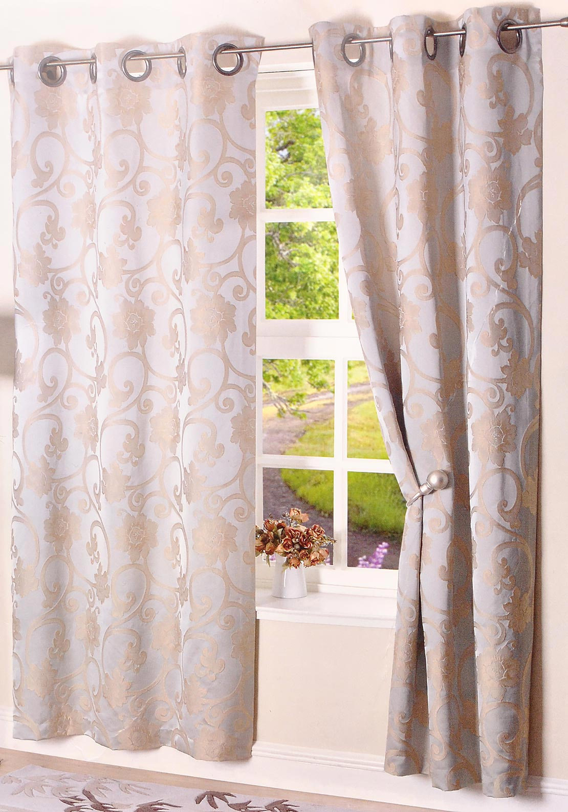 EA Design Interlined Hanover Readymade Eyelet Curtains, Mint Green