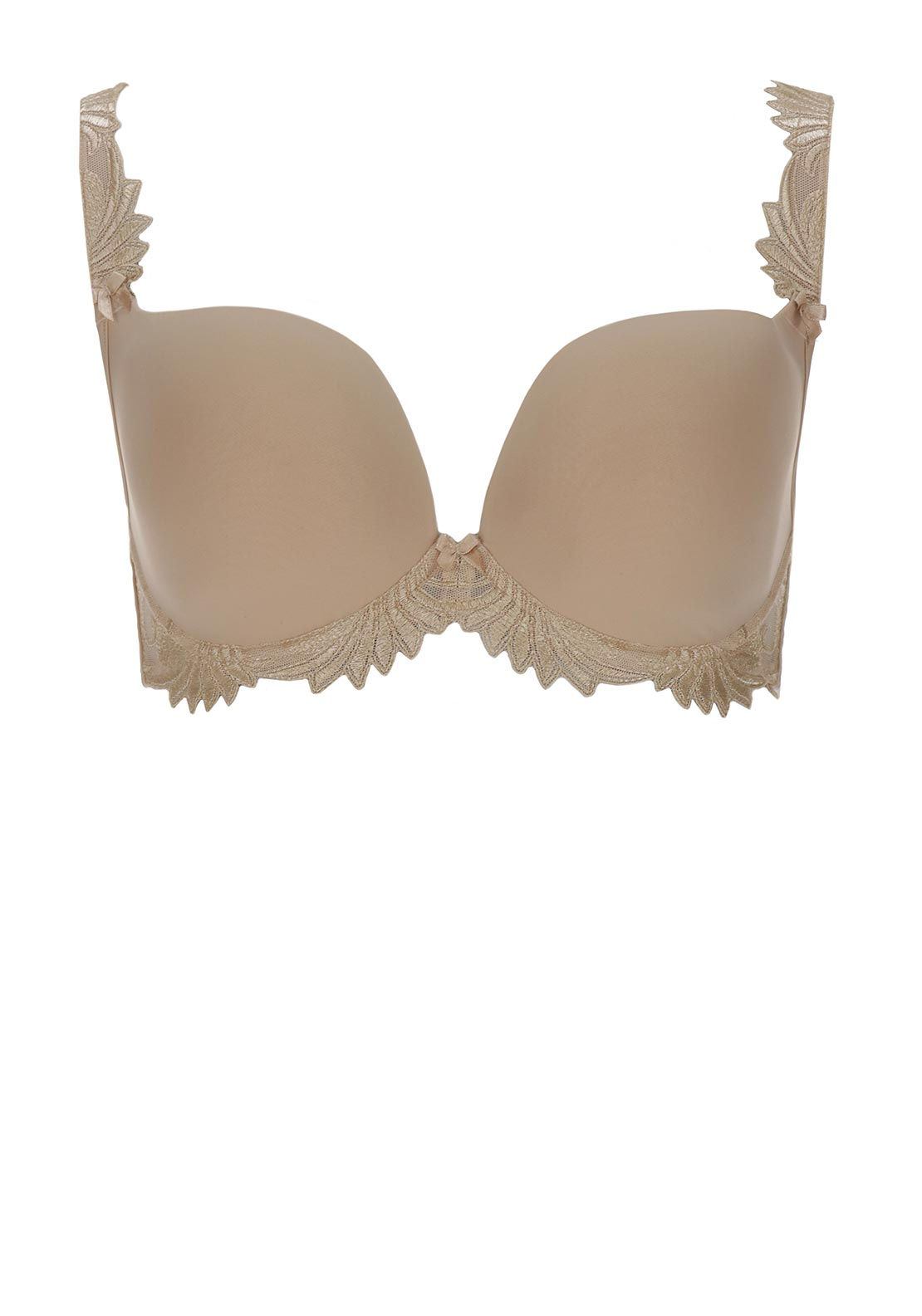 Empreinte Thalia Embroidered Trim Moulded Plunge Bra, Caramel