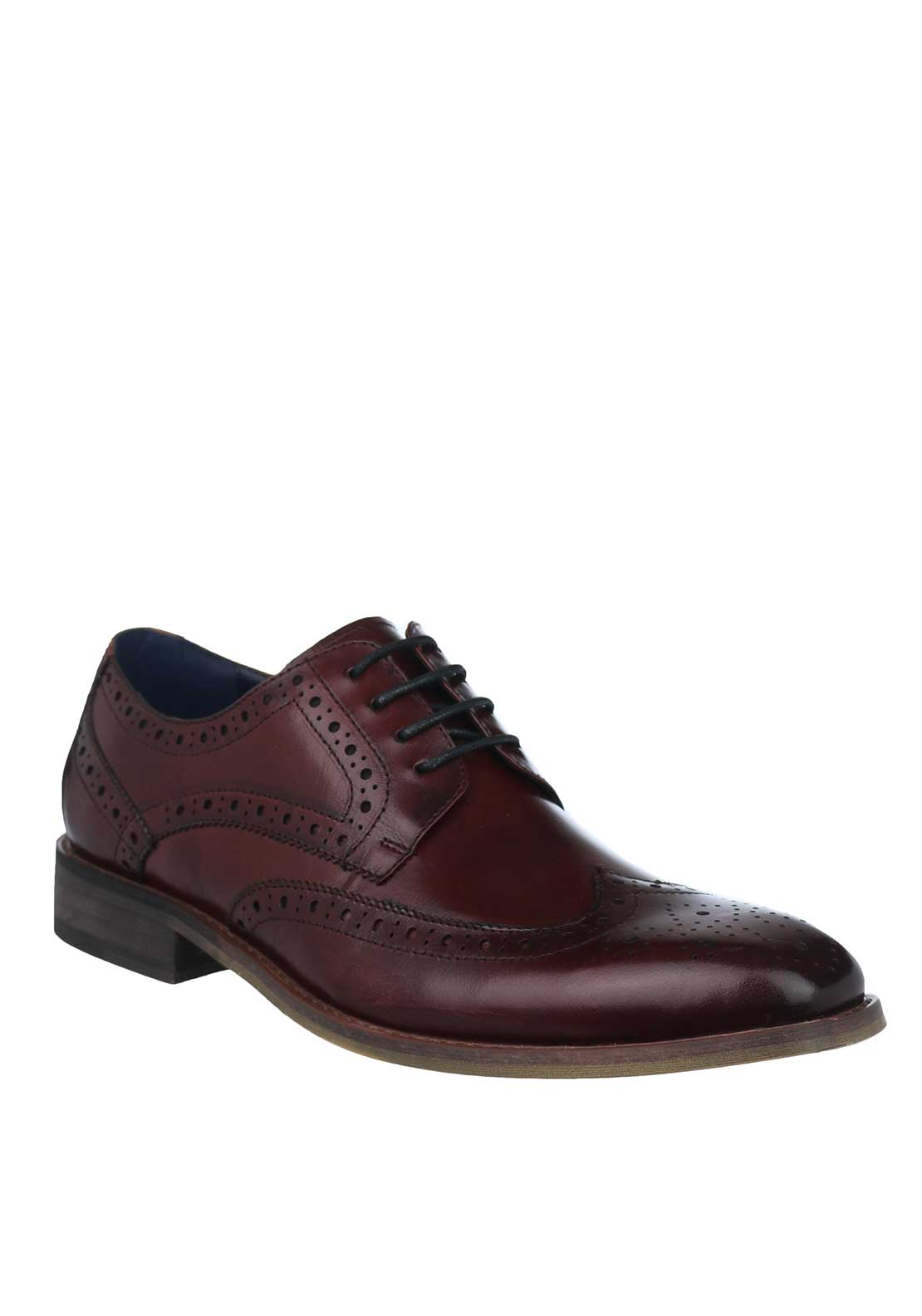 Escape Mens Gatti Lace Up Faux Leather Brogue Shoe, Wine