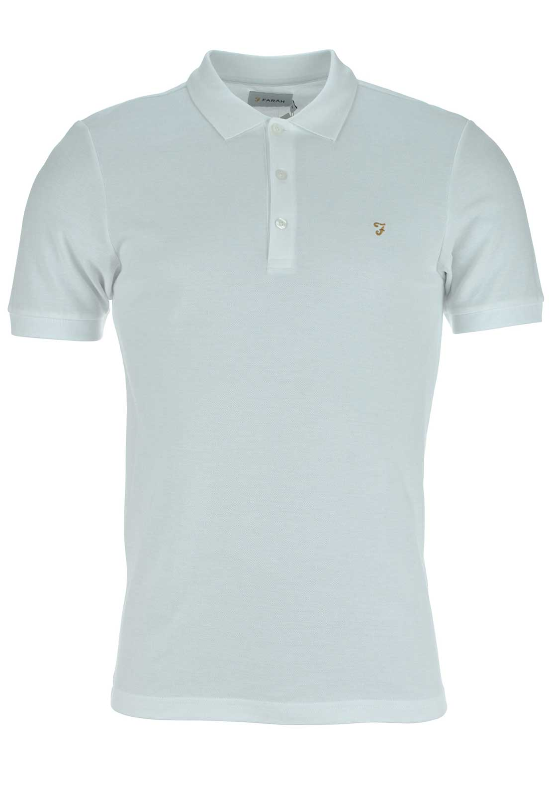 Farah Vintage Mens Blaney Plain Short Sleeved Polo, White